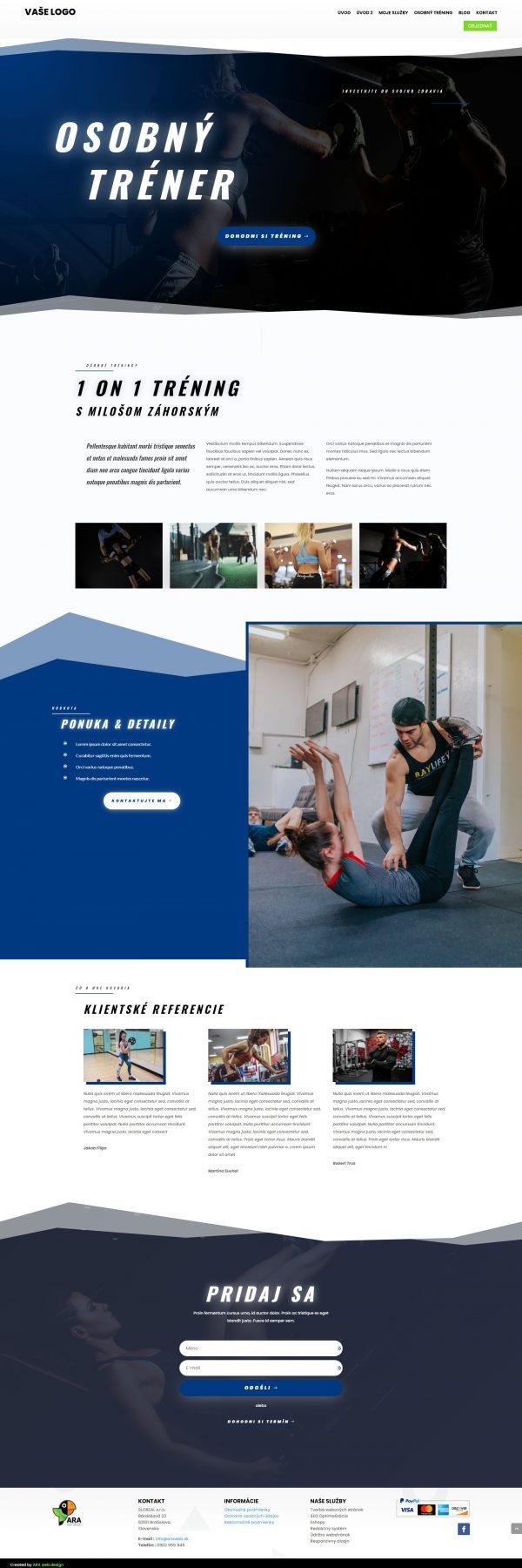 web pre osobného trénera