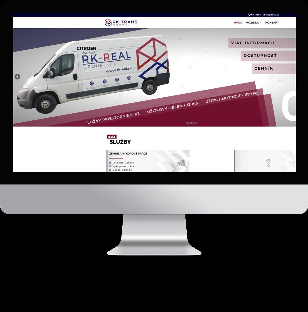 Tvorba webovej stránky pre autodopravu