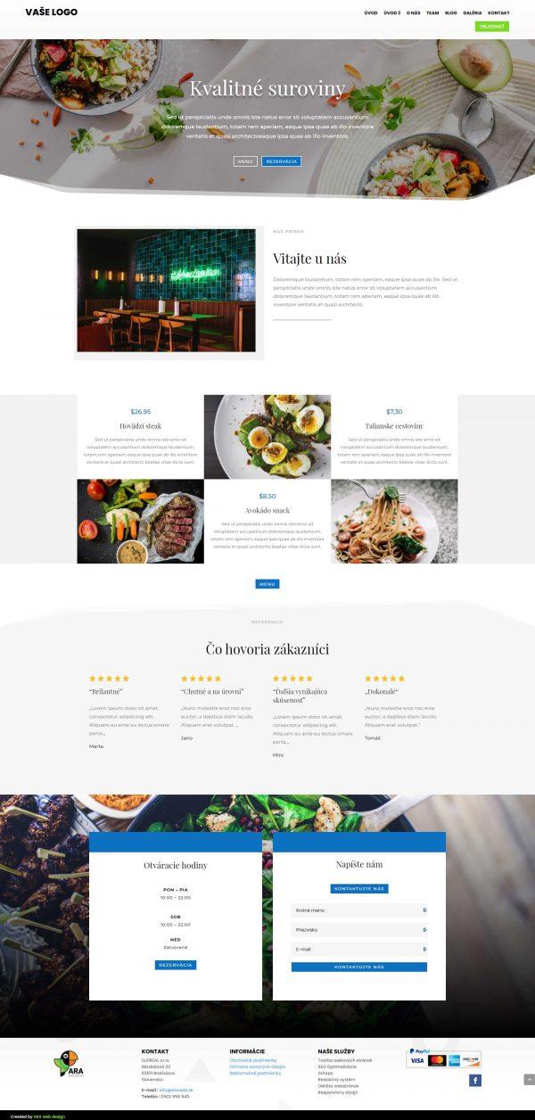 Webové stránky pre reštaurácie